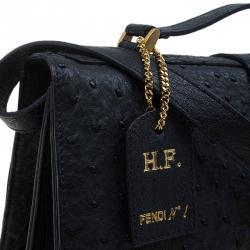 Fendi Black Ostrich Leather Classico No.1 Shoulder Bag