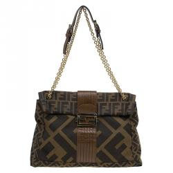 0a20b9cd28 Sold. Fendi Brown Zucca Canvas Maxi Baguette Shoulder Bag