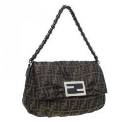 Fendi Classic Zucca Canvas Mia Flap Bag