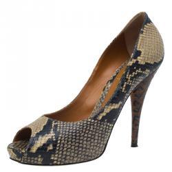 7c8d70e4c4c Fendi Brown Python Peep Toe Platform Pumps Size 39