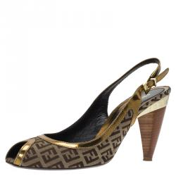 0adecdcab Fendi Gold Leather and Zucchino Canvas Peep Toe Slingback Sandals Size 40