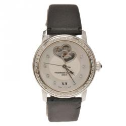 Frederique Constant White Mother of Pearl Stainless Steel Double Heartbeat Diamond Women's Wristwatch 34MM