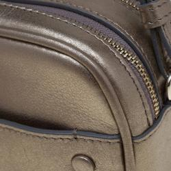 Giorgio Armani Metallic Gold Leather Weekend Crossbody Bag