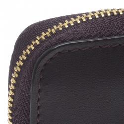 Giorgio Armani Purple Leather Zip Around Compact Wallet