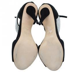 Giuseppe Zanotti Black Suede Crystal Embellished Ankle Strap Sandals Size 41