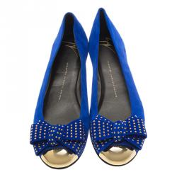 Giuseppe Zanotti Blue Suede and Gold Cap Toe Studded Bow Ballet Flats Size 38.5