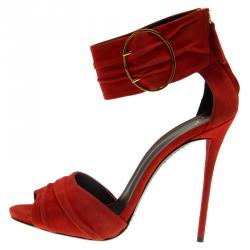 Giuseppe Zanotti Red Pleated Suede Ankle Strap Sandals Size 40