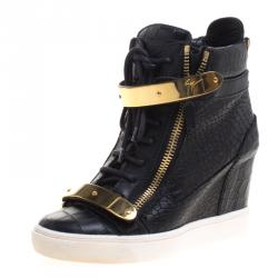 a18f33315086 Giuseppe Zanotti Black Croc Embossed Leather Lorenz Wedge Sneakers Size 38