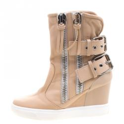 d9f5717e3a50 Giuseppe Zanotti Beige Leather Buckled Double Zip Accent Wedge Sneakers  Size 36