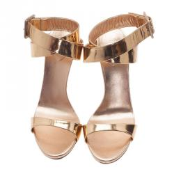 Giuseppe Zanotti Gold Metallic Leather Ankle Strap Sandals Size 41