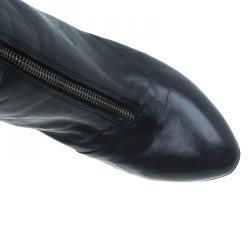 Giuseppe Zanotti Black Leather Studded Zipper Detail Mid Calf Boots Size 39.5
