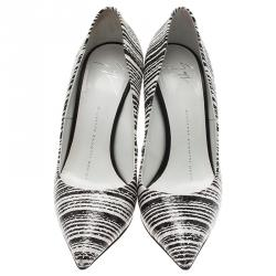 Giuseppe Zanotti Black and White Striped Python Embossed Leather Pumps Size 36.5