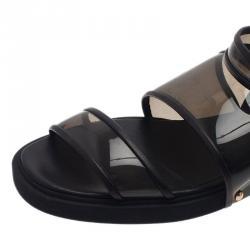 Givenchy Black Embellished PVC Heel Sandals Size 38.5