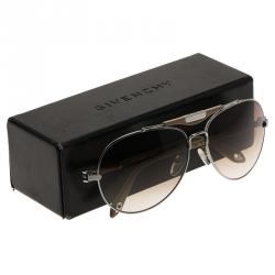 Givenchy Beige and Silver SGVA13 Aviator Sunglasses