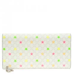 f2d473deccd6 Gucci White Micro GG Supreme Canvas Neon Stars Continental Wallet