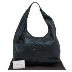 Gucci Black Pebbled Leather Soho Hobo