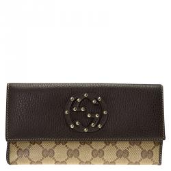 Gucci Brown Leather GG Crystal Studded Interlocking GG Continental Wallet