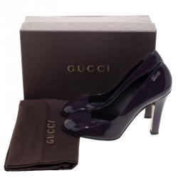 Gucci Purple Patent Leather Script Logo Pumps Size 41