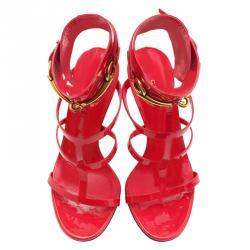 fb2209870 Gucci Red Patent Ursula Horsebit Gladiator Sandals Size 36.5