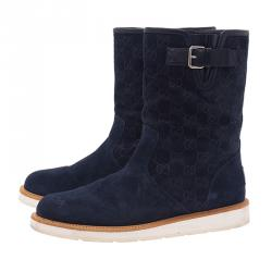 Gucci Navy Blue Guccissima Suede Quercy Flat Boots Size 40
