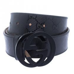 8b2d124d4 Gucci Black Imprime Canvas Interlocking G Buckle Belt 85 CM