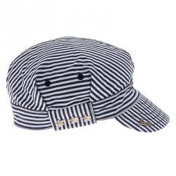 Gucci Navy Blue and White Striped Cap Size L