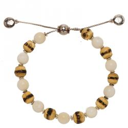 Gucci Bamboo Wood and Tagua Beads Silver Adjustable Bracelet Size 16