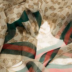Gucci Beige GG mnogram Print Web Detail Silk Scarf