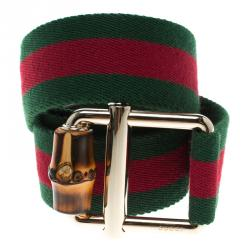 d635629db9a Gucci Green Web Fabric Bamboo Buckle Belt 85 CM