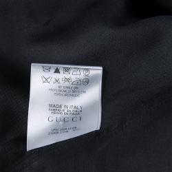 Gucci Black Raw Silk Fringe Detail Long Sleeve Tunic Dress  S