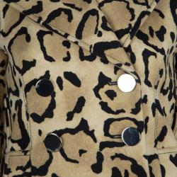 Gucci Beige Leopard Print Double Breasted Wool Coat S