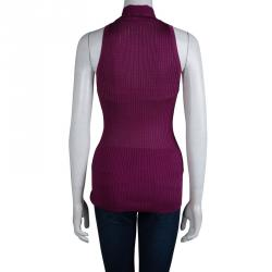 Gucci Purple Rib Knit Neck Tie Detail Sleeveless Top L