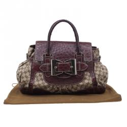 Gucci Brown Monogram Canvas Ostrich Leather Large Queen Top Handle Bag