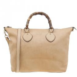 87f6c43658cfb2 Sold. Gucci Beige Leather Medium Bamboo Shopper Tote