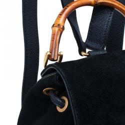 Gucci Black Suede/Leather Mini Bamboo Handle Backpack Bag