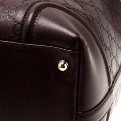 Gucci Dark Brown Guccissima Leather Large Web Treasure Boston Bag