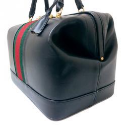 Gucci Vintage Black Calfskin Leather Web Boston