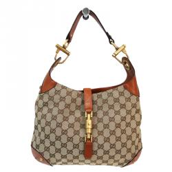 e78f73f7d9c Gucci Beige and Ebony GG Canvas New Jackie Hobo