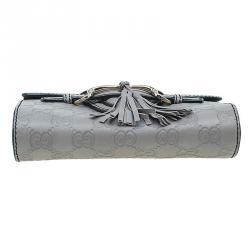 Gucci Grey Guccissima Leather Mini Emily Chain Shoulder Bag