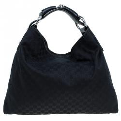 9e79111d72f Gucci Black GG Canvas Large Horsebit Hobo
