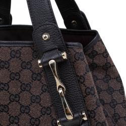 Gucci Brown GG Canvas Medium Horsebit Pelham Shoulder Bag