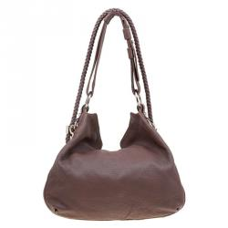 Gucci Brown Pebbled Leather Large Wave Hobo
