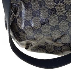 Gucci Blue/Grey GG Crystal Coated Canvas Hysteria Top Handle Bag