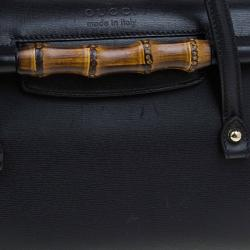 Gucci Black Leather Bamboo Top Handle Bag