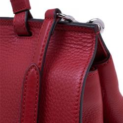 Gucci Red Leather Medium Bamboo Daily Top Handle Bag