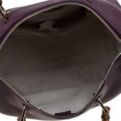 Gucci Burgundy Pebbled Leather Medium Bamboo Boston Bag