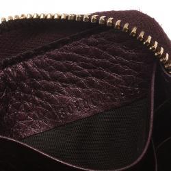 Gucci Burgundy Metallic Leather Soho Zip Around Wallet