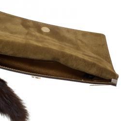 Gucci Gold Glazed Leather Tassel Clutch