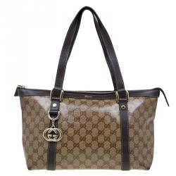 Gucci Brown GG Crystal Coated Canvas Medium Abbey Tote