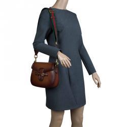 993068f98d9 Gucci Brown Ombre Leather Medium Lady Web Shoulder Bag